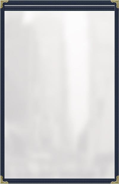 "Risch TES8-1/2X14 BL Clear Sewn Menu Cover - Single-View, Gold Corners, 8-1/2x14"" Blue"