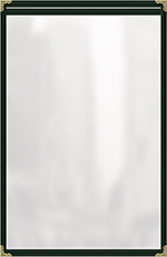 "Risch TES8-1/2X14 GN Clear Sewn Menu Cover - Single-View, Gold Corners, 8-1/2x14"" Green"