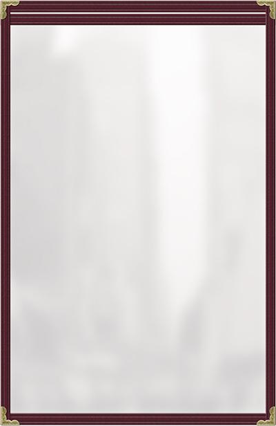 "Risch TES8-1/2X14 MN Clear Sewn Menu Cover - Single-View, Gold Corners, 8-1/2x14"" Maroon"
