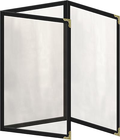"Risch TET5-1/2X8-1/2 BK Clear Sewn Menu Cover - Triple Fold-Out, Gold Corners, 5-1/2x8-1/2"" Black"