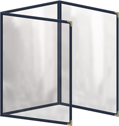 "Risch TET5-1/2X8-1/2 BL Clear Sewn Menu Cover - Triple Fold-Out, Gold Corners, 5-1/2x8-1/2"" Blue"