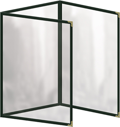 "Risch TET5-1/2X8-1/2 GN Clear Sewn Menu Cover - Triple Fold-Out, Gold Corners, 5-1/2x8-1/2"" Green"