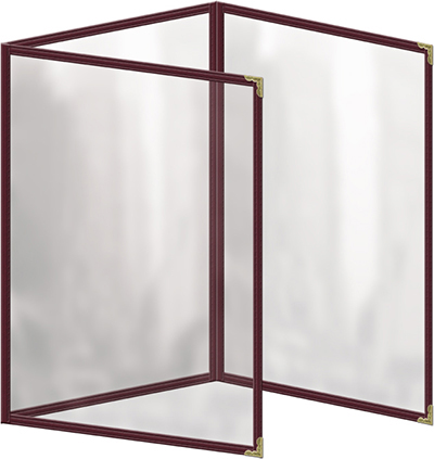 "Risch TET5-1/2X8-1/2 MN Clear Sewn Menu Cover - Triple Fold-Out, Gold Corners, 5-1/2x8-1/2"" Maroon"
