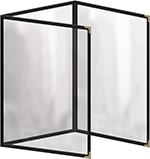 "Risch TET8-1/2X11 BK Clear Sewn Menu Cover - Triple Fold-Out, Gold Corners, 8-1/2x11"" Black"