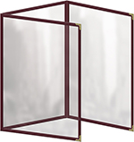 """Risch TET8-1/2X11 MN Clear Sewn Menu Cover - Triple Fold-Out, Gold Corners, 8-1/2x11"""" Maroon"""