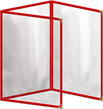 """Risch TET8-1/2X11 RD Clear Sewn Menu Cover - Triple Fold-Out, Gold Corners, 8-1/2x11"""" Red"""