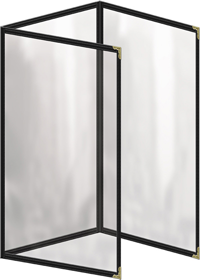 "Risch TET8-1/2X14 BK Clear Sewn Menu Cover - Triple Fold-Out, Gold Corners, 8-1/2x14"" Black"