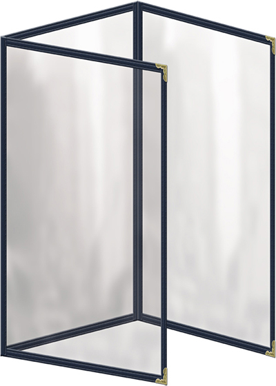 "Risch TET8-1/2X14 BL Clear Sewn Menu Cover - Triple Fold-Out, Gold Corners, 8-1/2x14"" Blue"