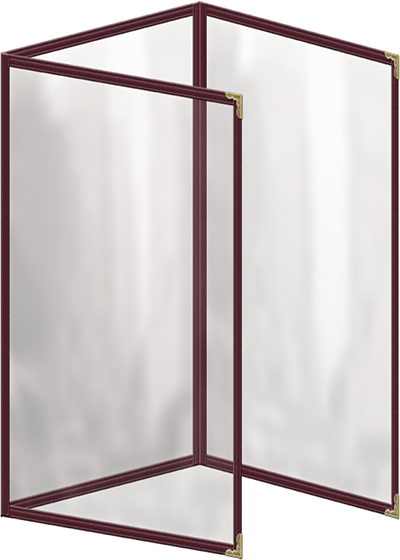 """Risch TET8-1/2X14 MN Clear Sewn Menu Cover - Triple Fold-Out, Gold Corners, 8-1/2x14"""" Maroon"""