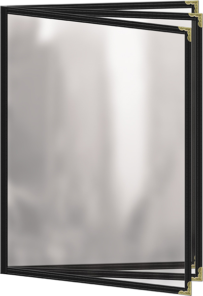 "Risch TETB8-1/2X11 BK Clear Sewn Menu Cover - Triple Booklet, Gold Corners, 8-1/2x11"" Black"