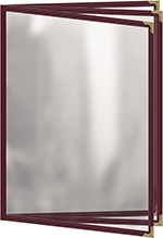 "Risch TETB8-1/2X11 MN Clear Sewn Menu Cover - Triple Booklet, Gold Corners, 8-1/2x11"" Maroon"