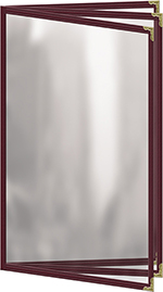"Risch TETB8-1/2X14 MN Clear Sewn Menu Cover - Triple Booklet, Gold Corners, 8-1/2x14"" Maroon"
