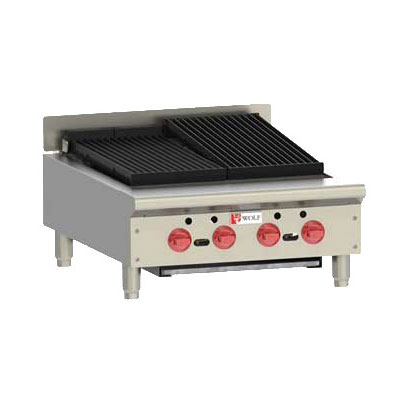 "Wolf ACB25 25.13"" Gas Charbroiler w/ (4) Burners & Cast Iron Grates - Manual, NG"