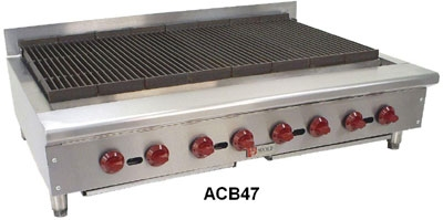 Wolf Range ACB47 1 46-3/4 in Achiever Gas Charbroiler, 8 Burners, Manual Controls, NG