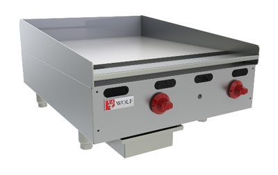 "Wolf AGM24 24"" Gas Griddle - Manual, 1"" Steel Plate, NG"