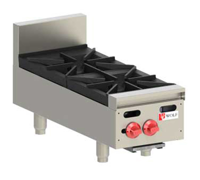 Wolf AHP212 NG 12-in Hotplate w/ 2-Open Burners & Cast Iron Grates, NG