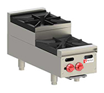 "Wolf AHP212U 12"" Hotplate w/ 1-Open Burner & 1-Step Up Open Burner, NG"