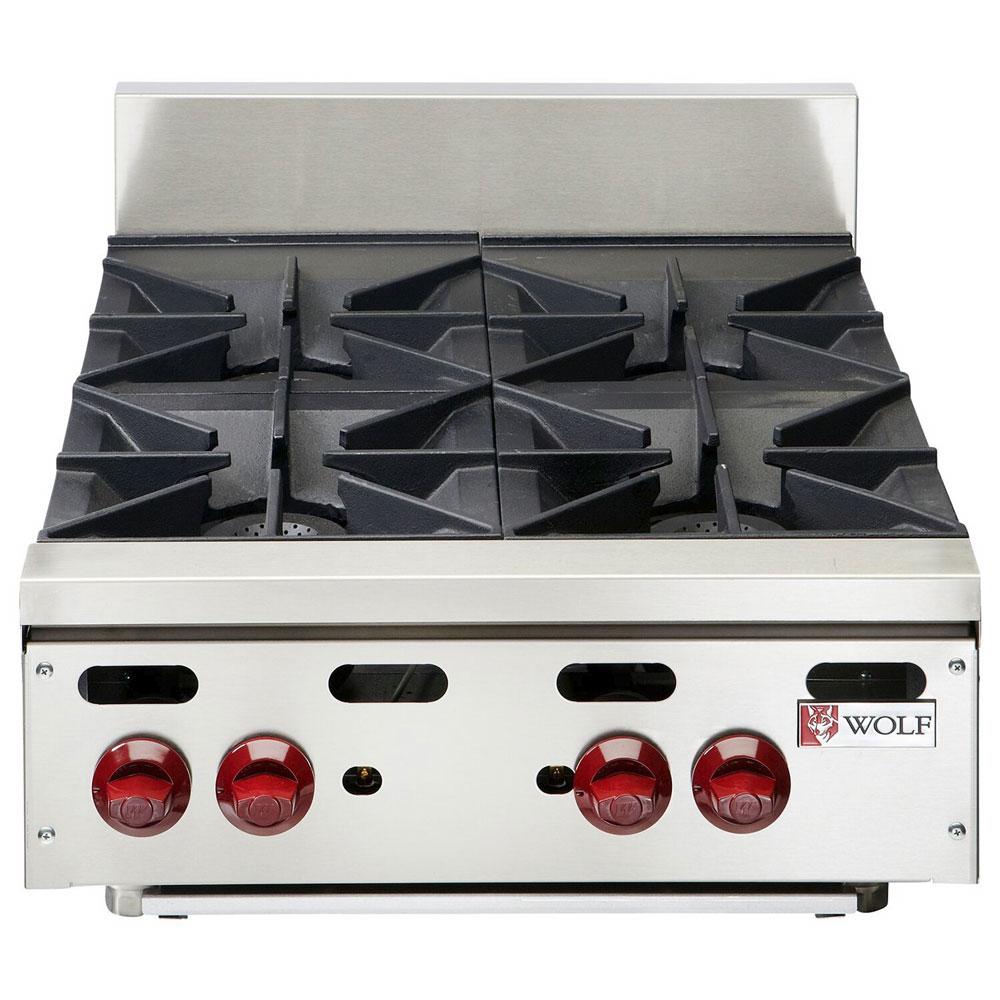 "Wolf AHP424 24"" Gas Hotplate w/ (4) Burners & Manual Controls, LP"