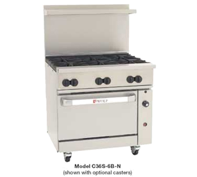 "Wolf C36S-6B 36"" 6-Burner Gas Range, LP"