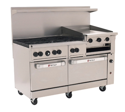 "Wolf Range C60 60"" 6-Burner Gas Range with Griddle & Broiler, LP"