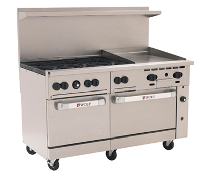 "Wolf C60SS-6B24G 60"" 6-Burner Gas Range with Griddle, LP"