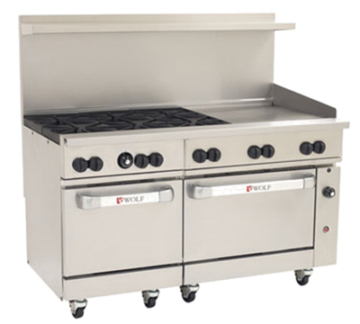 "Wolf Range C60-SS-6B-24GT 60"" 6-Burner Gas Range with Griddle, LP"