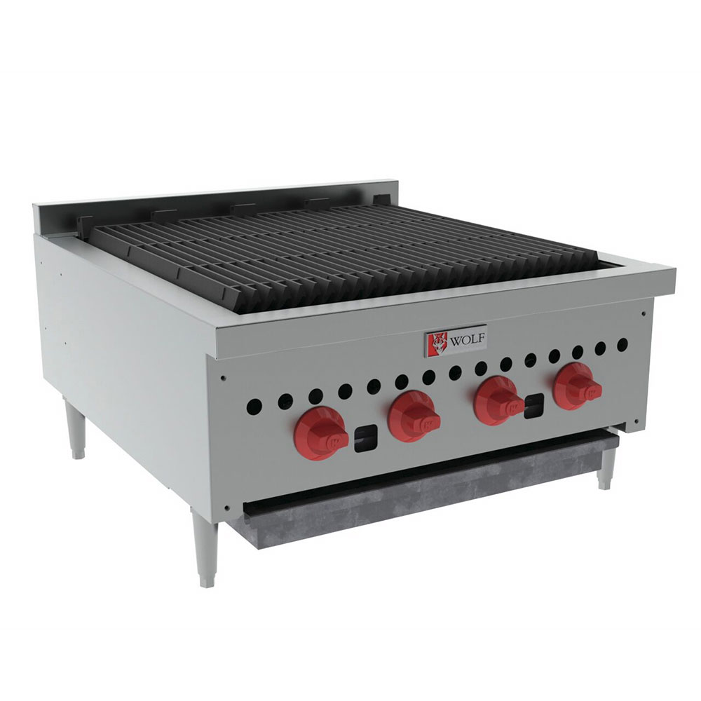 "Wolf SCB25 25"" Gas Charbroiler w/ (4) Burners & Cast Iron Grates, NG"