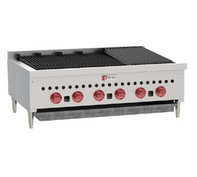 "Wolf SCB36 36"" Gas Charbroiler w/ (6) Burners & Cast Iron Grates, NG"
