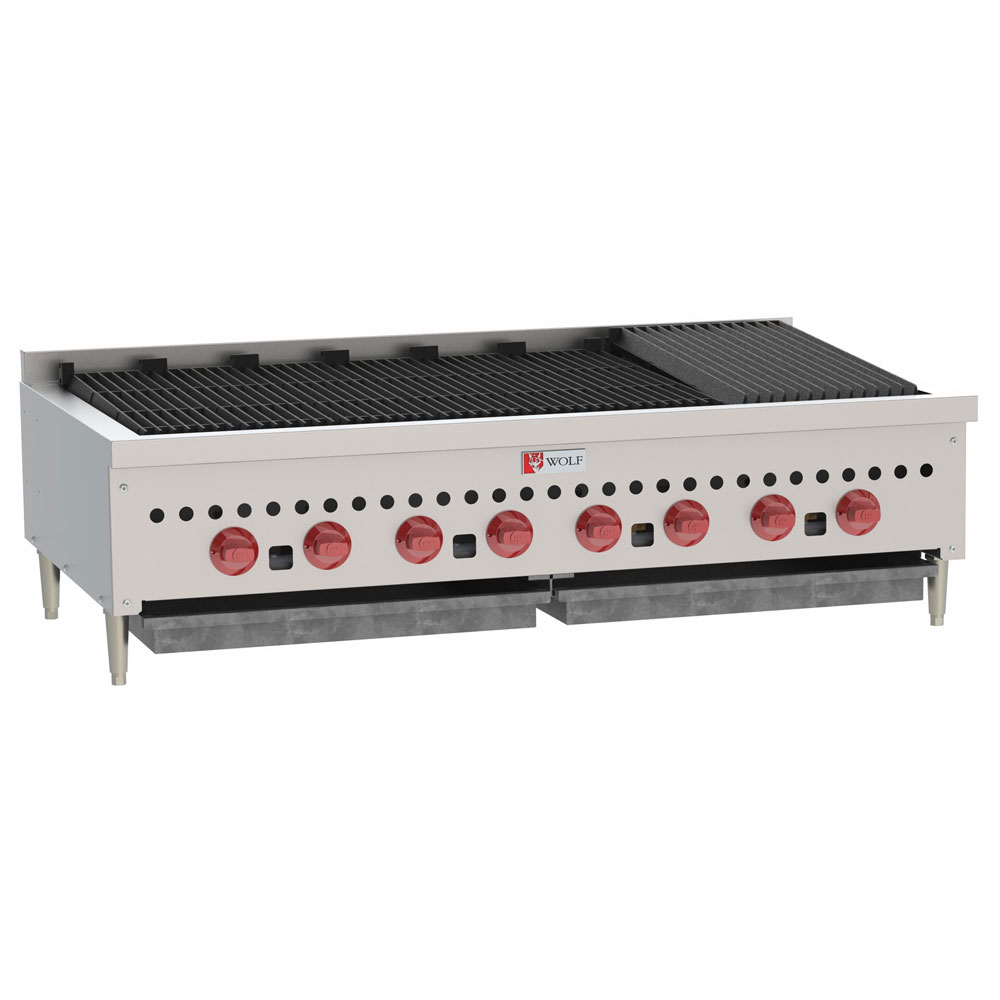 "Wolf SCB47 47"" Gas Charbroiler w/ (8) Burners & Cast Iron Grates, NG"