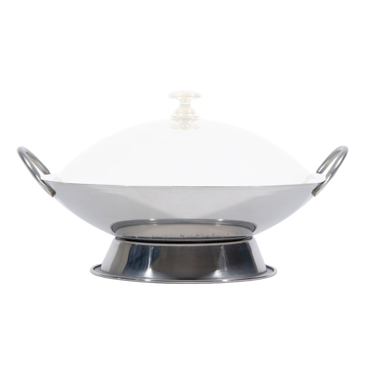 Town 25109 Wok Serving Dish, Two Handles, Polished Stainless, Without Cover, 9 in
