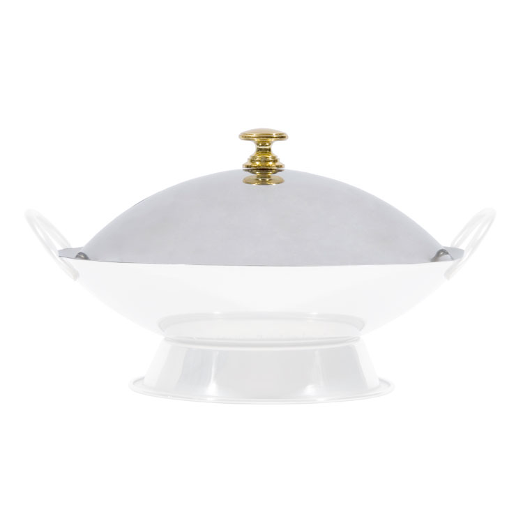"Town 25109C Wok Serving Dish Cover Only for 9"" Serving Dish, Brass Knob, Stainless"