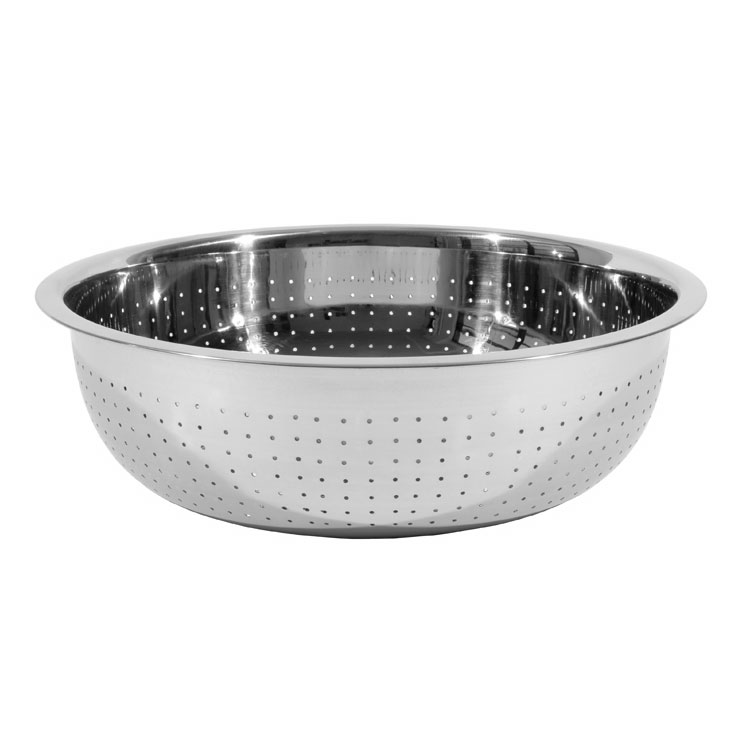 Town 31715 Chinese Style Colander, Stainless, Small Perforations, Button Feet, 15 in