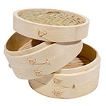 Town 34206 Bamboo Steamer Set, Includes 2 Steamers, 1 Cover, 6 in