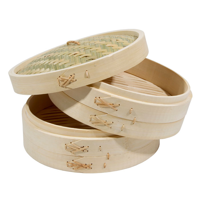 Town 34210 Bamboo Steamer Set, Includes 2 Steamers, 1 Cover, 10 in