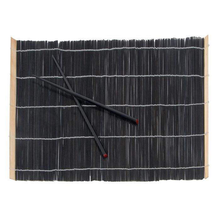 Town 34252 (4) Placemat & Chopstick - 12x18, Black Bamboo