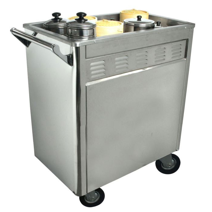 "Town 36615 Dim Sum Cart, Removable Panels, Includes Casters, 3/4""Drain Valve, Stainless"