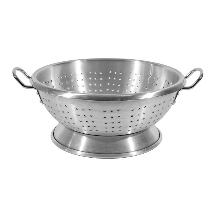 Town 37311 11 qt Aluminum Colander, Large Riveted Handles, Footed Base