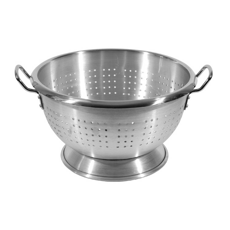 Town 37316 16 qt Aluminum Colander, Large Riveted Handles, Footed Base