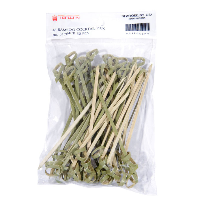 """Town 51704CP 4"""" Bamboo Cocktail/Food Pick"""