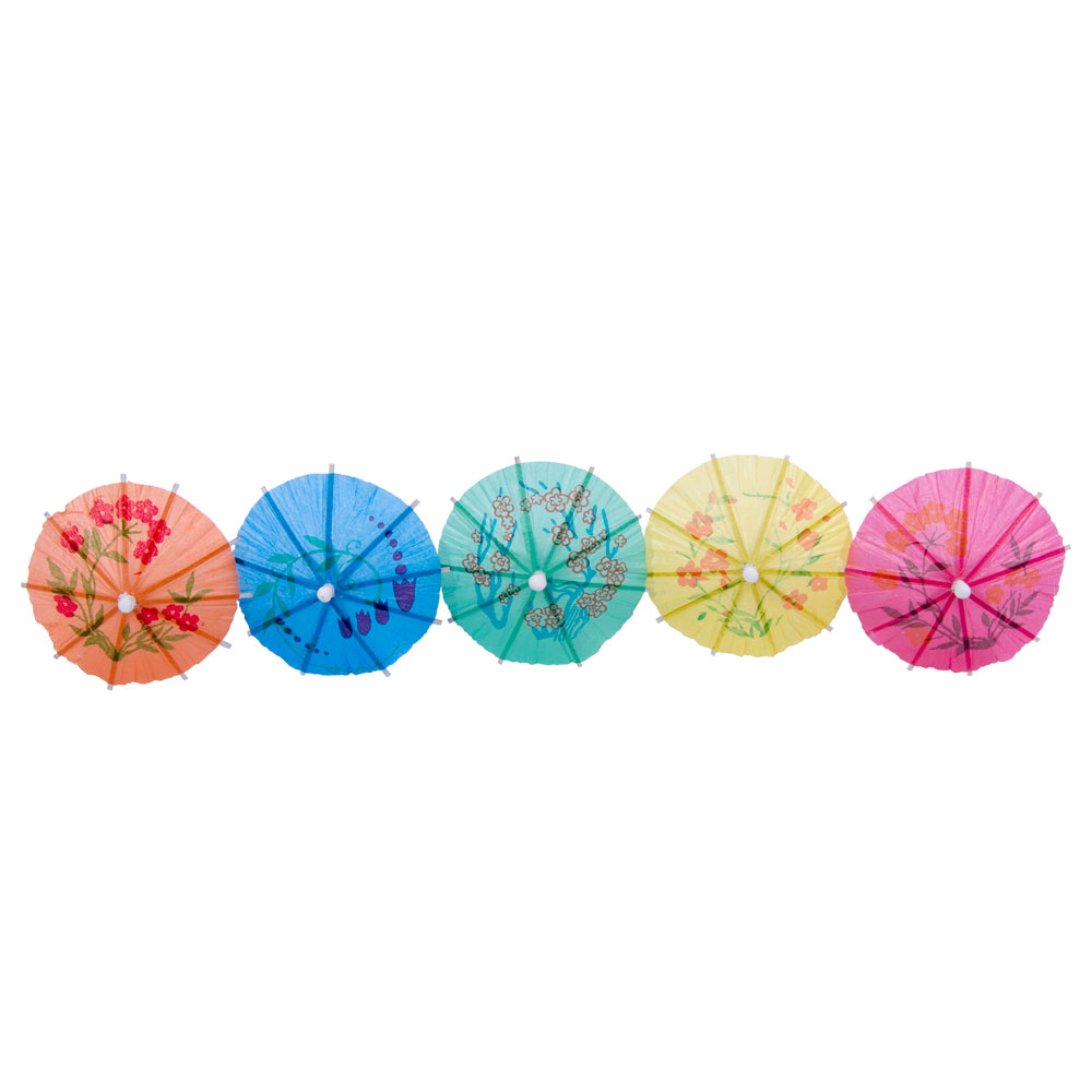 "Town 51801 4"" Paper Cocktail Parasol, Wooden Stem, Assorted Colors"