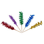 "Town 51802 4"" Curly Foil Frill Top Cocktail/Food Pick, Wooden Stem, Assorted Colors"