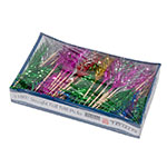 """Town 51807 4"""" Straight Foil Frill Top Cocktail/Food Pick, Wooden Stem, Assorted Colors"""