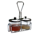 Town Food Service 19826 Condiment Server Set, Includes (2) 8 oz Glass Jars, (2) Stainless Jar Covers 19826