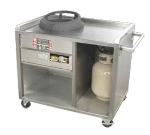 "Town 224800 LP One Chamber Mobile Gas Range, Push Handle, Stainless, Casters, 24"" Base, LP"