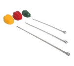 Town Food Service 22816 Stainless Kabob Skewers, One End Pointed, One End With Ring, 16 in