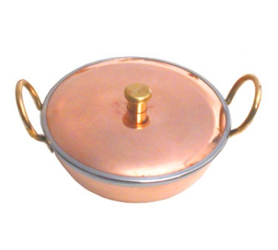 Town Food Service 25266 22 oz Wok, With Cover Round, 2 Handles, Copper Exterior, Stainless Interior