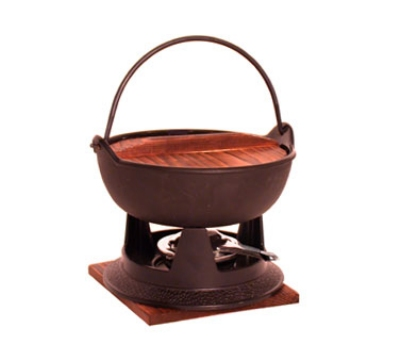 Town 25300 64 oz Cast Iron Fondue Set, 1 Pot With Handle, 1 Wood Cover, 1 Stand