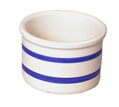 Town Foodservice Equipment 2712 2 qt Ceramic Crock With Two Blue Stripes 4-1/2 in Restaurant Supply