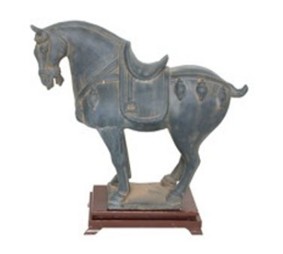 Town Food Service 28262 Horse Statue, Black Antique Finish With Fancy Saddle, 12-1/2 in