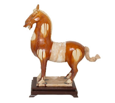 Town Food Service 28264 Horse Statue, Brown And White Finish With Plain Saddle, 14-1/2 in